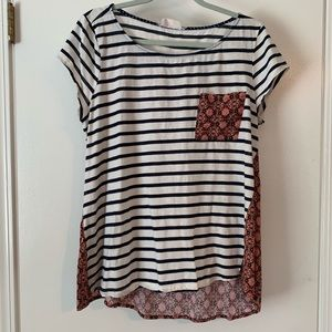 Anthropologie Stripe & Pasley High low Tee